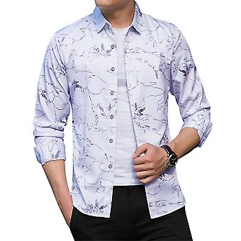 Allthemen Men's Lapel stamping casual Long Sleeve Shirt for Summer