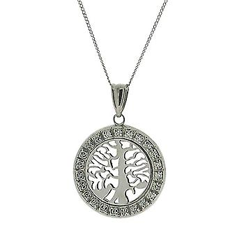 TOC Sterling Silver CZ Set Round Tree Of Life Pendant Necklace 18