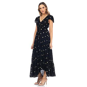 Long flight dress with sequins and back to the air