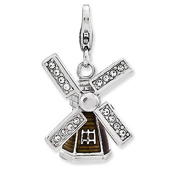925 Sterling Silver Rhodium plated Fancy Lobster Closure Enameled 3 d Windmill With Lobster Clasp Charm Pendant Necklace
