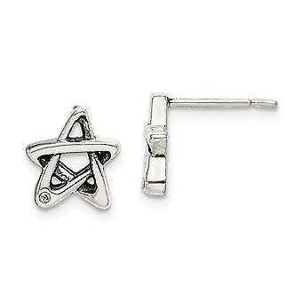 925 Sterling Silver CZ Cubic Zirconia Simulerade Diamond Star Örhängen Mäter 9.7x8.8mm breda smycken gåvor för kvinnor