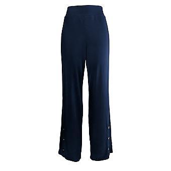 Susan Graver Women's Pants Knit Pull-OnWide-Leg W/Buttons Blue A373722