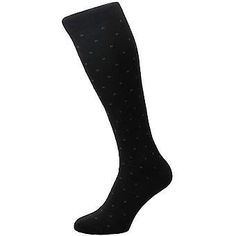 Pantherella Banim Mini Box motief over de kalf sokken-zwart