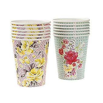 Alice in Wonderland Style Paper Party Cups x 12 Vintage Floral Wedding Party
