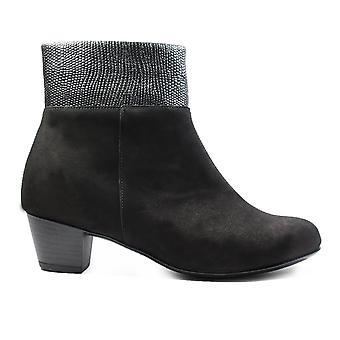 Waldläufer Hilaria 358801 305 001 Black Nubuck Leather Womens Heeled Ankle Boots