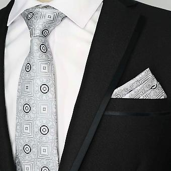 Silver & grey geo pattern designer pocket square & tie