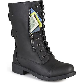 Journee Collection Womens Buckle Pocket Lace-up Combat Boots Black, 9 Regular...
