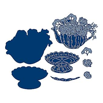 Tattered Lace Floral Teapot with Stand Die Set