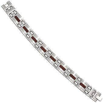 Stainless steel bracelet bracelet stainless steel Brown carbon deposits 21 cm flap closure
