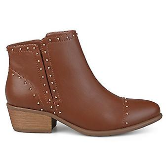 Brinley Co Womens Ginny Faux Leather Stacked Heel Studded Ankle Boots