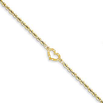 14k Žlté zlato Satén leštený open heart rope anklet homár pazúry šperky darčeky pre ženy - Dĺžka: 9 až 10