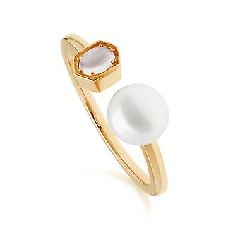 Modern Pearl & Moonstone Open Ring in Gold Plated Sterling Silver  270R059002925