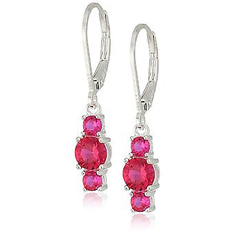 Sterling Silver Created Ruby 5mm and 3mm Three Stone, Created Ruby, Size No Size