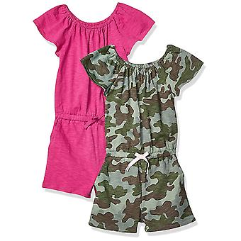 Spotted Zebra Little Girls' 2-Pack Knit Ruffle Top Rompers, Camo/Fuchsia, Sma...