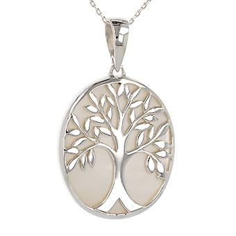 ADEN 925 Sterling Silver White Mother-of-Pearl Tree of Life Oval Shape Pendant Necklace (id 3680)