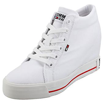 Tommy Jeans Casual Sneaker Womens Wedge Trainers in het wit