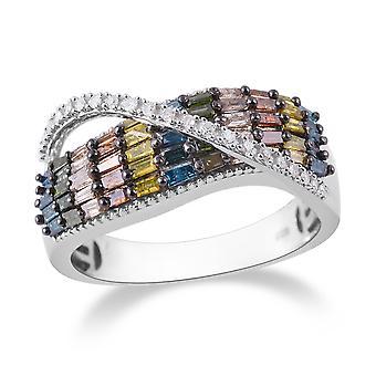 Gelber Diamant halbe Ewigkeit Ring Silber Platin vergoldet blau, grüner Diamant TJC