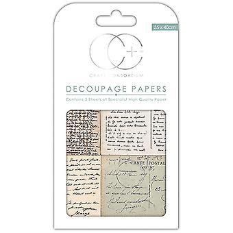 Craft Consortium Vintage Postcard Script Decoupage Papers