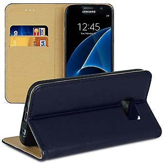 Cover with card compartment for Samsung Galaxy S7 Edge Microfiber Magnetic Lock Leatherette Blue