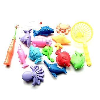 Children's Magnetic Fishing Parent-child Interactive Toys - Kids 1 Rod 1 Net 12 3d Fish Baby Bath Toys Outdoor Toy