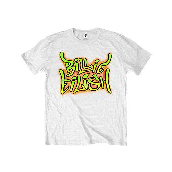 Billie Eilish Kids T Shirt Graffiti Logo new Official White (Ages 5-14 yrs)