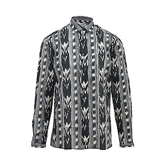 Saint Laurent 496203y313s1095 Men's Wit/zwart Katoenen Shirt