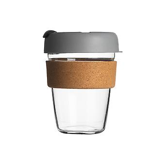 Reusable Travel Mug - Glass Commuter Cup for Tea, Coffee with Silicone Lid, Cork Sleeve - Eco-Friendly - 350ml - Grey