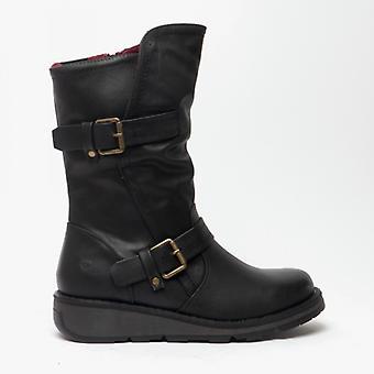 Heavenly Feet Hannah 2 Ladies Mid Calf Boots Black