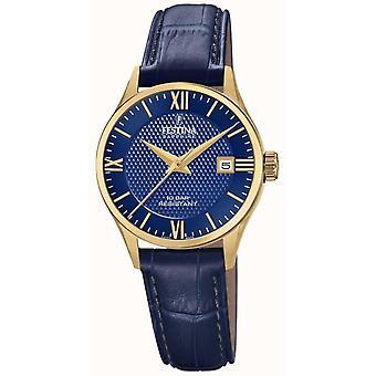 Festina Swiss F20011-3 Women's Gold Tone Case Blue Leather Wristwatch
