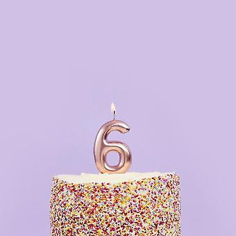 6th Birthday Party Candle   Rose Gold Number 6 Age Cake Topper 16th Decoration