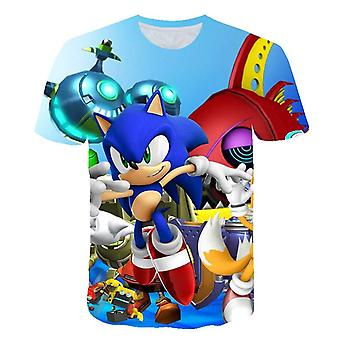 Cartoon Print Sonic Hedgehog T Shirt Streetwear Children Clothes O-neck Set-2