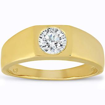 Mens 1 ct עגול סוליטר יהלום טבעת נישואין 14k צהוב זהב