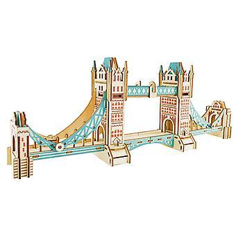 Kehitä lasten älykkyyttä Puinen 3D Puzzle 105 kappaletta - Tower Bridge