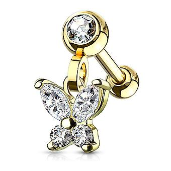 Ear cartilage/tragus with cz paved crescent butterfly dangle jeweled