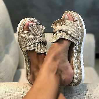 Mulheres Deslizam Sapatos de Sandálias de Arco de Verão