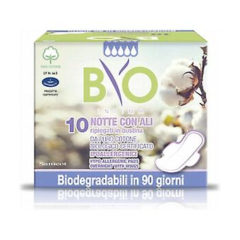 Night Absorbents with Wings Cotton - Bio Compostable Coating 10 units