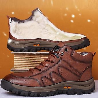 Men Leather Boots, Wool Fur, Thick Composite, Sole Winter Shoes, Cowhide