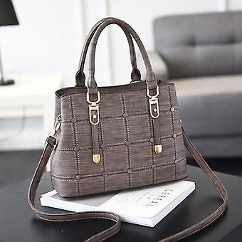 Pu Leather Handbag- Grid Shoulder, Casual/ Crossbody Bag