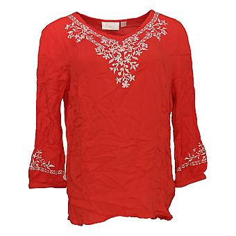 Belle by Kim Gravel Women's Top Embroidered Stretch Red A303578