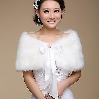 Fur Shawl Wedding Wrap do formalnej sukni, odzież wierzchnia Bridal Cape, Jesień Zima