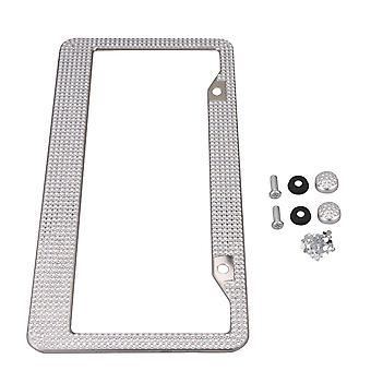 Stainless Steel Auto Plate Frame Front or Rear Bracket Crystal & Screw