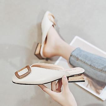 Pumps Slippers, Slip On Mules Low Heel Casual Shoes & British Wooden Block