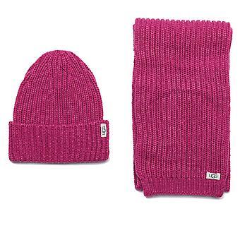 Accessoires Ugg Australia Rib Knit Hat & Sjaal set in roze