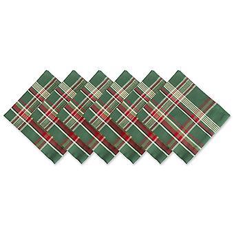 Dii Dark Green Plaid Napkin (Set Of 6)