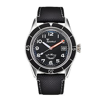 Squale SUB39MON Black Arabic 300 Meter Swiss Automatic Dive Wristwatch