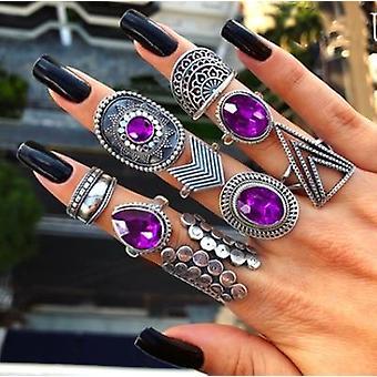 Finger Jewelry Crown, Geometric Rhinestone, Leaf Women Ring Sets, Hollow