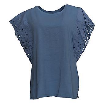 Belle par Kim Gravel Women's Top TripleLuxe Knit Flutter Sleeve Blue A351613