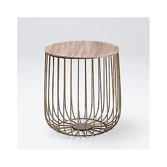 Eventa Small Cage Table Gold Frame Oak Imitation Marble Top