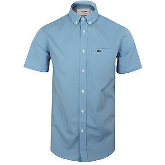 Camicia lacoste da uomo in gingham blu