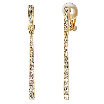 Traveller Drop Clip Earrings - Hanging - Gold plated - Crystals - 157355